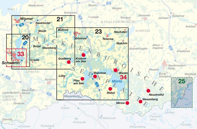 Karte Seen Mecklenburgische Seenplatte.Karten Der Region Mecklenburgische Seenplatte Nordland
